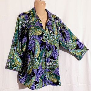 212 Collection Paisley Button Down Top Size 1X